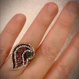 Art Nouveau Exquisite Emerald Ruby Silver Ring 925